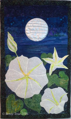 Moonflower quilt with moon, Fly Me to the Moon exhibition