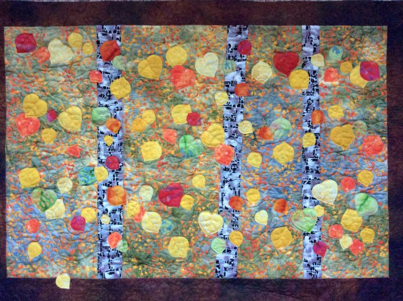 Autumn leaves, appliqué, Colorado, machine quilted
