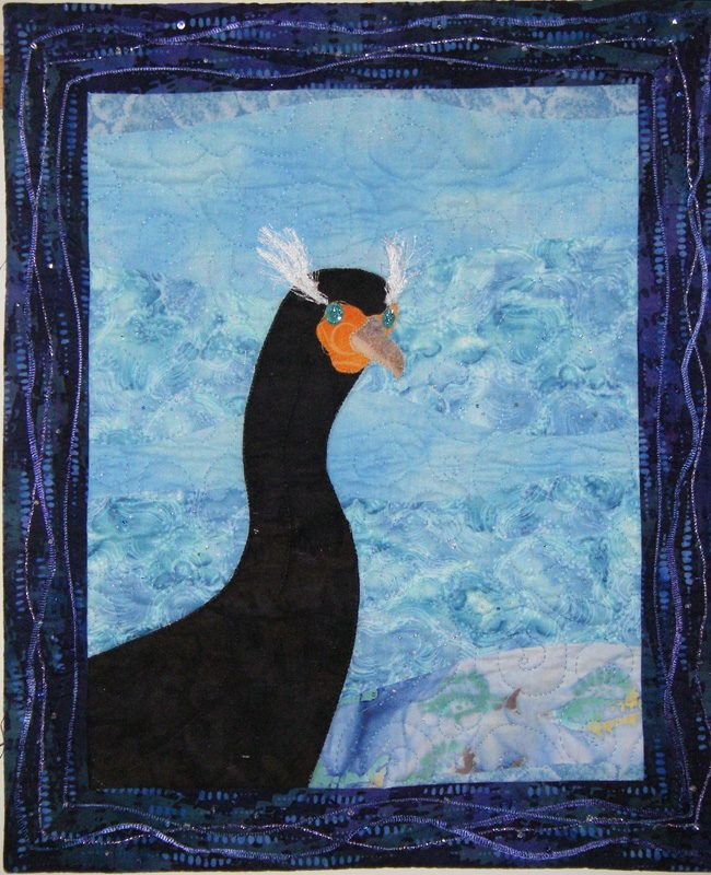 Bird, machine quilted, appliqué, california