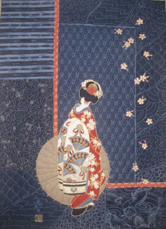 Indigo, sashiko, machine quilted, kimono, japanese, machine applique