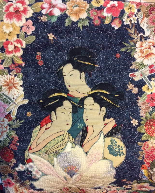 Geisha, tranquility, orchid, indigo, sashiko, applique, fused, machine quilted, machine qpplique, japanese