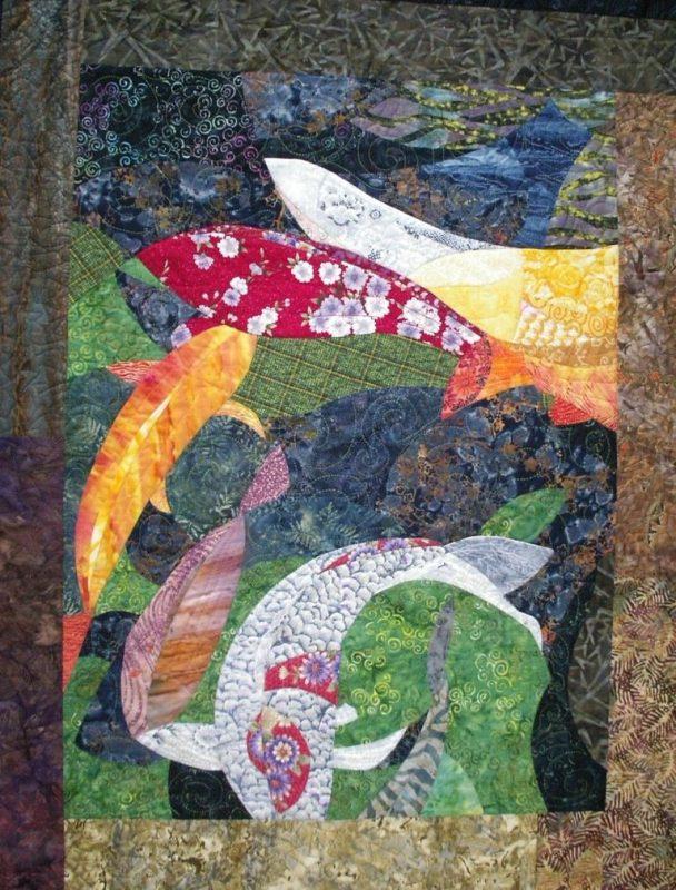 Japanese garden, San Diego, koi, goldfish, pieced, Ruth McDowell