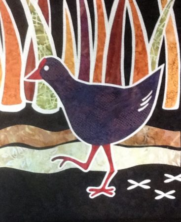 Swamphen, African, bird, marsh, woodblock, detail