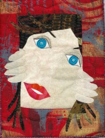 art quilt of a face